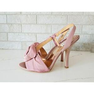 Like New Badgley Mischka pink silk rosette heels